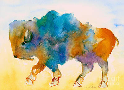 Painting - Abstract Buffalo In Blue Rust And Yellow by Nan Wright