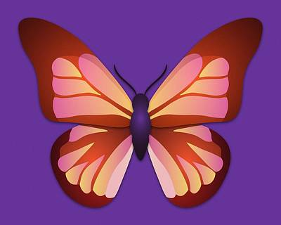 Digital Art - Butterfly Graphic Orange Pink Purple by MM Anderson