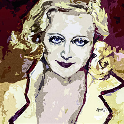 Painting - Abstract Carol Lombard Portrait  by Ginette Callaway