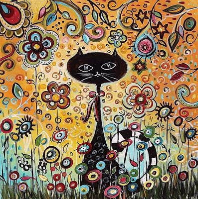 Flowerfield Painting - Abstract Cat  by Jolina Anthony