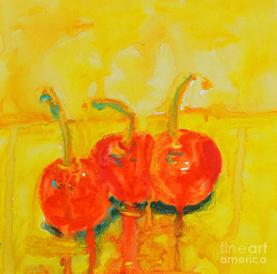 Interior Still Life Painting - Abstract Cherries Modern Art by Patricia Awapara