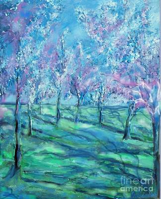 Abstract Cherry Trees Print by Eric  Schiabor