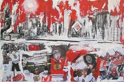 Skylines Mixed Media - Abstract Chicago Skyline Blackhawks Championship by John Sabey Jr
