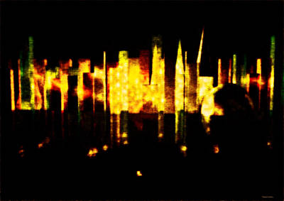 Color On Black Digital Art - City In The Night by Ramon Martinez