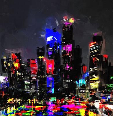 Skyline Digital Art - Abstract Cityscape by Arne Hansen