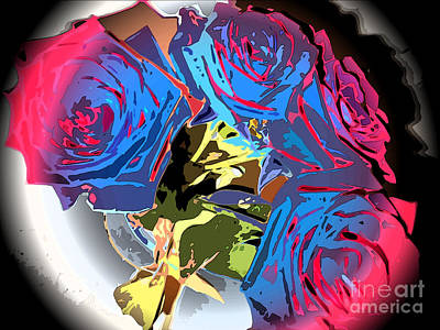 Abstract Cluster Of Roses Art Print by Minding My  Visions by Adri and Ray