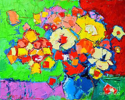 Vivid Colour Painting - Abstract Colorful Flowers by Ana Maria Edulescu