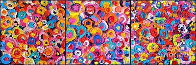 With Texture Painting - Abstract Colorful Flowers Triptych  by Ana Maria Edulescu