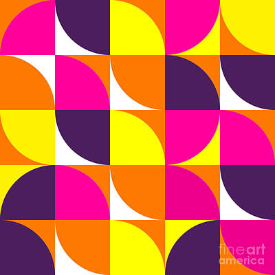 Mosaic Wall Art - Digital Art - Abstract Colorful Geometric Shapes by Irend