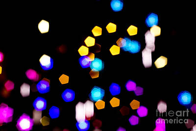 Hues Of Purple Photograph - Abstract Colorful Pentagon Shaped Bokeh Lights by Beverly Claire Kaiya