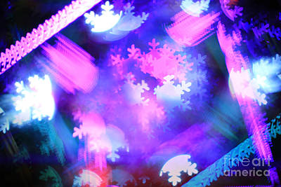 Photograph - Abstract Colorful Snowflakes Bokeh Lights by Beverly Claire Kaiya