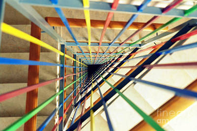 Photograph - Abstract Colors Stairwell by Patrick Dinneen