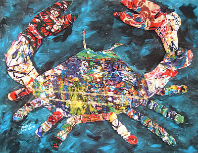 Blue Crab Mixed Media - Abstract Crab by Mary Crochet