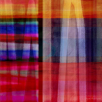 Red Abstract Drawing - Abstract Cross Lines II by Joost Hogervorst