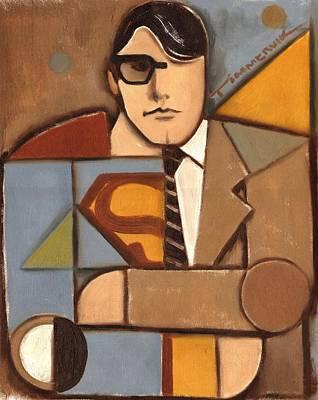 Superman Painting - Abstract Cubism Clark Kent Superman Art Print by Tommervik