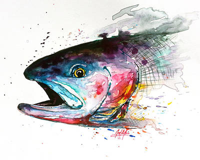 Fishing Flies Painting - Abstract Cutthroat by Joel DeJong