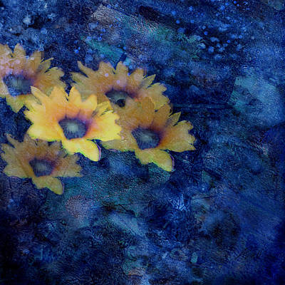 Impressionist Mixed Media - Abstract Daisies On Blue by Ann Powell