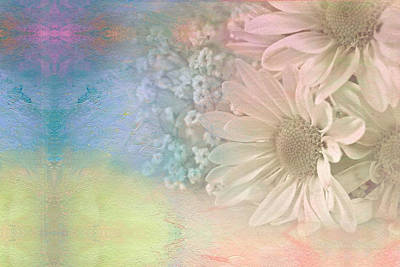 Gradient Mixed Media - Abstract Daisy Bouquet by Maria Dryfhout