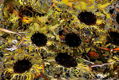 Digital Art - Abstract Daisy Flowers by rd Erickson