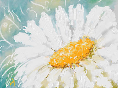 Nature Abstracts Painting - Abstract Daisy by Veronica Minozzi