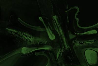 Painting - Abstract Dark Art Olive Green by Rob Hans