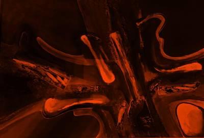 Painting - Abstract Dark Art Orange by Rob Hans