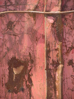 Photograph - Abstract Dented Pink Metal 1  by Anita Burgermeister