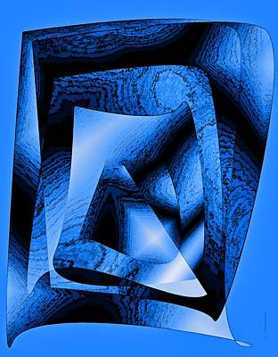 Geometric Shape Digital Art - Abstract Design In Blue Contrast by Mario Perez