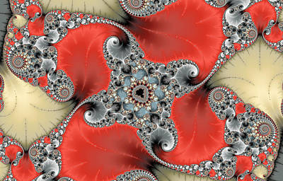 Digital Art - Abstract Digital Art Red Grey Beige by Matthias Hauser