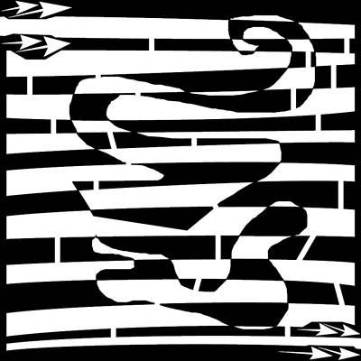 Unicellular Drawing - Abstract Distortion Amoeba Blobs by Yonatan Frimer Maze Artist