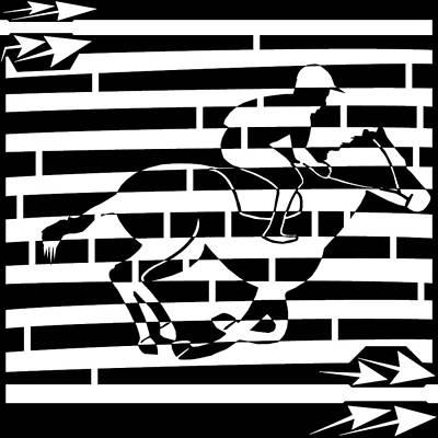 Abstract Distortion Boy On A Horse Maze  Art Print by Yonatan Frimer Maze Artist