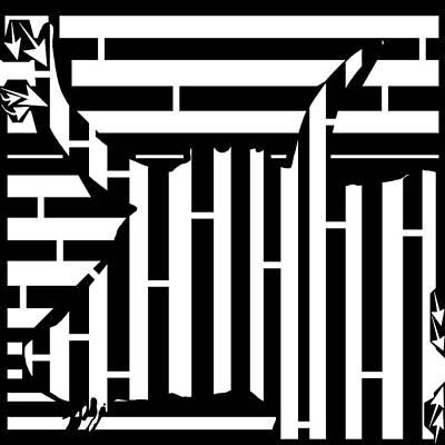 Sports Maze Painting - Abstract Distortion Bull Maze by Yonatan Frimer Maze Artist