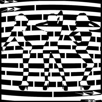 Abstract Distortion Dancin Girls Maze  Art Print by Yonatan Frimer Maze Artist