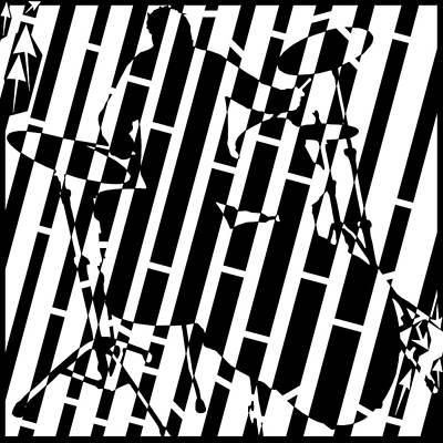 Abstract Distortion Drummer Maze  Art Print by Yonatan Frimer Maze Artist