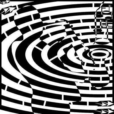 Abstract Distortion Jazz On Saxophone Maze  Art Print by Yonatan Frimer Maze Artist
