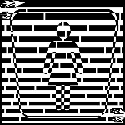 Abstract Distortion Ladies Room Sign Maze Art Print by Yonatan Frimer Maze Artist
