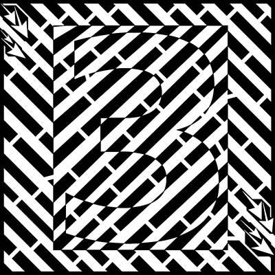 Abstract Distortion Number Three Maze  Art Print by Yonatan Frimer Maze Artist