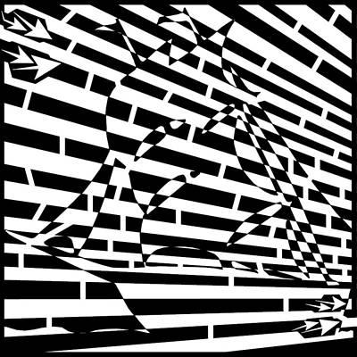 Sports Maze Drawing - Abstract Distortion Sail Boat Maze  by Yonatan Frimer Maze Artist