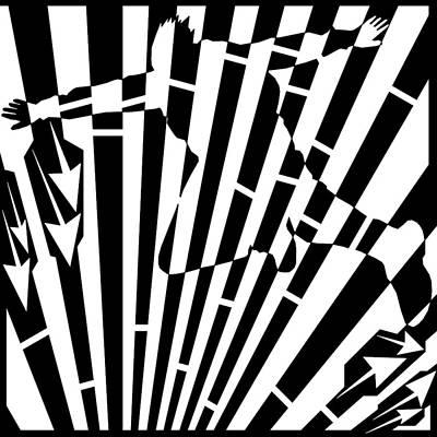 Sports Maze Drawing - Abstract Distortion Sky-diver Maze  by Yonatan Frimer Maze Artist