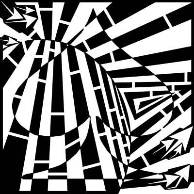 Abstract Distortion Spade Maze  Art Print by Yonatan Frimer Maze Artist