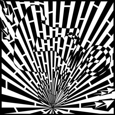 Sports Maze Drawing - Abstract Distortion Stunt Bike Rider Maze  by Yonatan Frimer Maze Artist