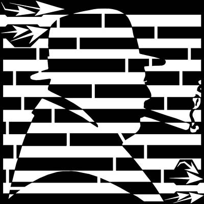 Maze Art Drawing - Abstract Distortion Winston Churchill Maze  by Yonatan Frimer Maze Artist