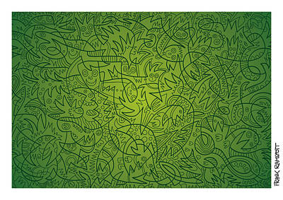 Doodle Digital Art - Abstract Doodle Faces Green by Frank Ramspott