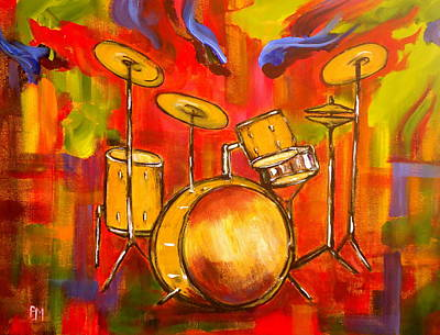 Abstract Drum Painting - Abstract Drums by Pete Maier