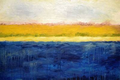 Contemporary Seascape Art Painting - Abstract Dunes With Blue And Gold by Michelle Calkins