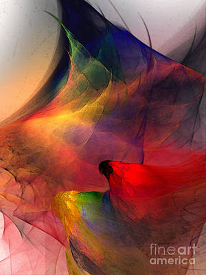 Contemplative Digital Art - Abstract Exotic Birds by Karin Kuhlmann