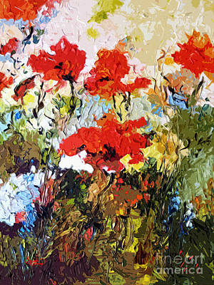 Provence Mixed Media - Abstract Expressive Poppies Provencale by Ginette Callaway