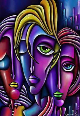 Portaits Digital Art - Abstract Faces by Gediminas Cipas