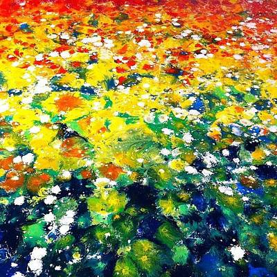 Abstract Flowers Photograph - Abstract Field Of Flowers Painting #art by Ocean Clark
