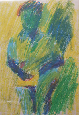 Abstract Expressionism Drawing - Abstract Figure In Green Blue And Yellow by Esther Newman-Cohen